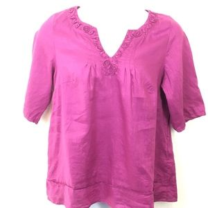 Lucy & Laurel 100% Linen Embellished Tunic Size 1X